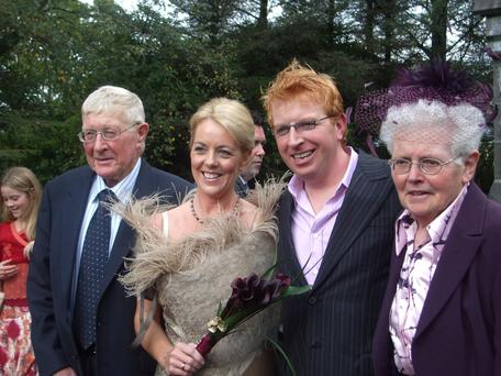 Sligo's son: Tommy Fleming and Tina at their 2006 wedding with his mother Annie and father Paddy.