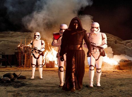 Star Wars' Kylo Ren (Adam Driver) with Stormtroopers