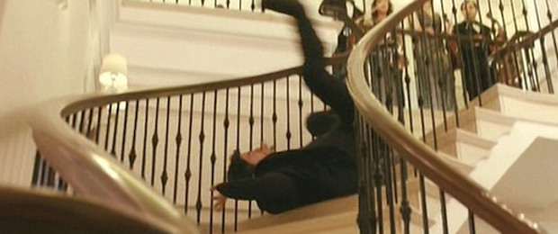 Simon Cowell tumbles down the stairs after he was shot. Photo: Lorraine ITV2