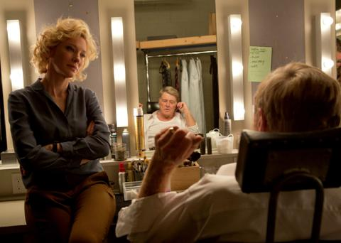 Making the headlines: Cate Blanchett in her latest film role as the CBS News producer Mary Mapes in 'Truth', alongside co-star Robert Redford as the news anchor Dan Rather.
