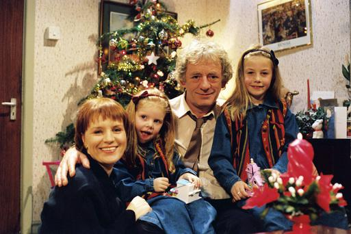 National treasure: Mary with her on-screen family in Glenroe
