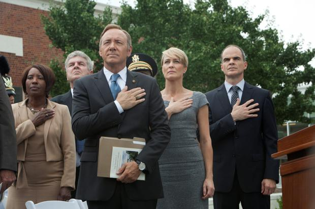 Michael with co-stars Kevin Spacey and Robin Wright.