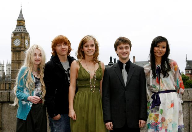 Class act: Evanna with the Harry Potter cast.