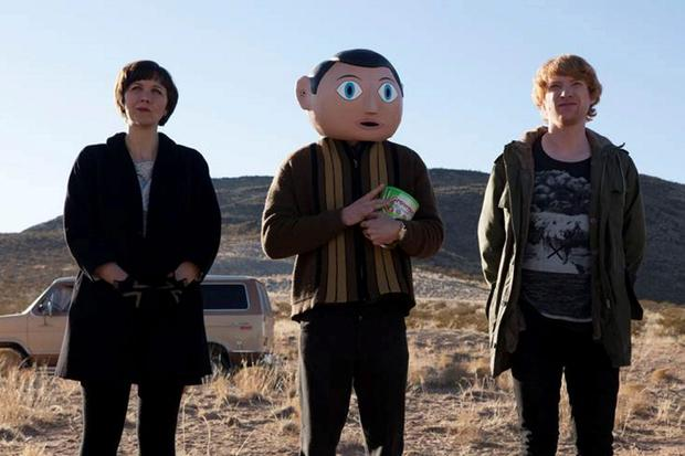 Maggie Gyllenhaal, Michael Fassbender (centre) and Domhnall Gleeson on the set of 'Frank'.