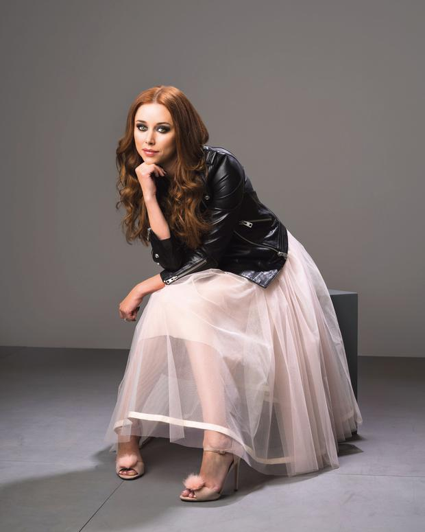 Una Healy: Jacket, €650, Zadig and Voltaire, Brown Thomas. Dress, €1,195, Shehurina, Costume, Dublin 2. Shoes, €72, Office.