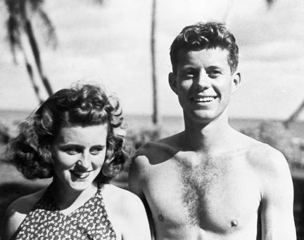 Kathleen (Kick) with her brother John F Kennedy at Palm Beach, Florida sometime between 1934 and 1940.