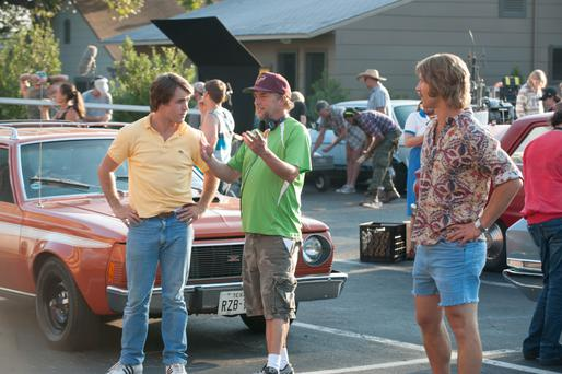 Love letter to the 80s: Richard Linklater (centre) on the set of his new film, Everybody Wants Some!!