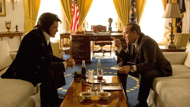 Unlikely bedfellows: Michael Shannon and Kevin Spacey do a good job as Elvis and Nixon.