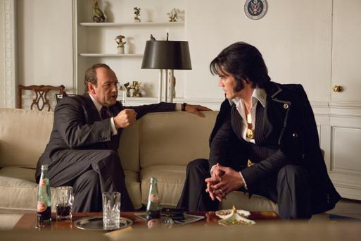 It's good to talk: Kevin Spacey and Michael Shannon in 'Elvis and Nixon'.