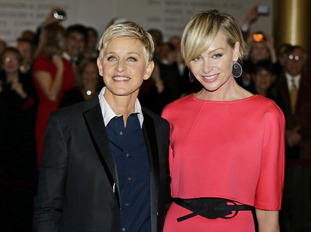 Ellen DeGeneres, left, with her wife Portia de Rossi