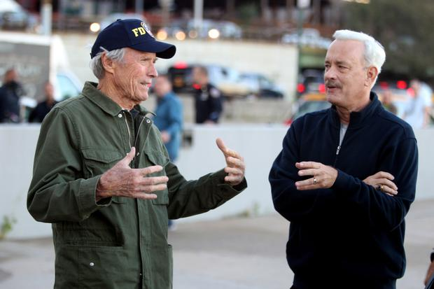 Work ethic: Clint Eastwood and Tom Hanks on the set of Sully, the first time the two stars have worked together