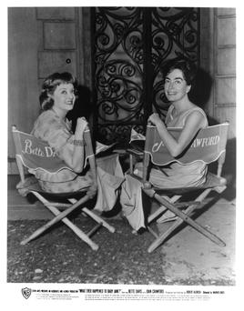 Joan Crawford and Bette Davis on the set of the 1962 Hollywood movie 'Whatever Happened to Baby Jane'