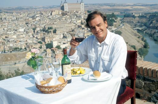 Keith Floyd in Spain in 1992 filming his BBC series 'Floyd on Spain' in which he took a gastronomic tour of Spain