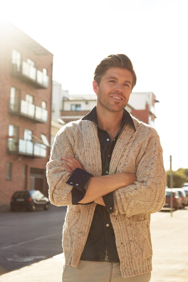 Darren Kennedy: Cardigan, €69.90, Sweater Shop; denim shirt, €80, Mango, Arnotts. Photo: Aaron Hurley