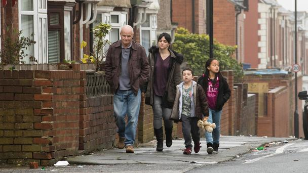 Kafkaesque nightmare: Dave Johns, Hayley Squires, Dylan McKiernan and Briana Shann in I, Daniel Blake