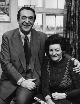 Robert Maxwell, who died in mysterious circumstances 25 years ago, seen in 1974 with his wife, Elisabeth