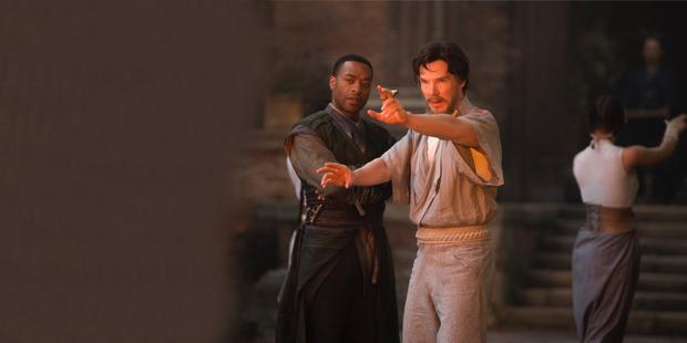 Training: Chiwetel Ejiofor and Benedict Cumberbatch star in Marvel's latest superhero caper 'Doctor Strange'
