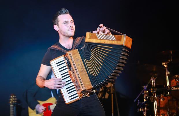 Multi-talented: Nathan, who has been playing the accordion since he was a young boy, at the Sunday World Country Music and Entertainment Awards 2016