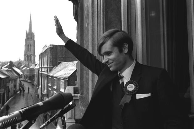 Archer waves to the crowd after winning his seat in 1969