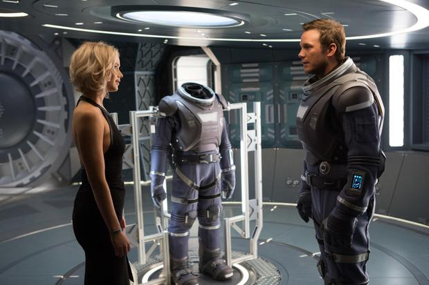 Space jam: Jennifer Lawrence and Chris Pratt are the only two passengers 'awake' on a gigantic spaceship