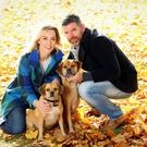Content: Kathryn Thomas and fiancé Padraig with their dogs Poppy and Peter. Photo: Marc O'Sullivan