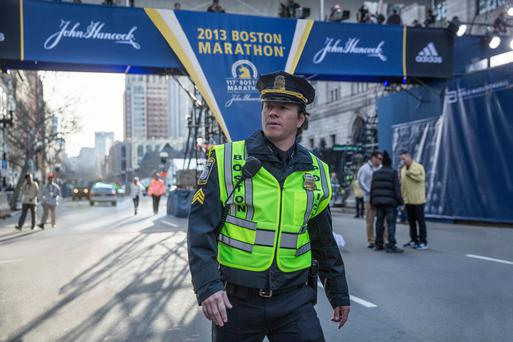 Police search: Mark Wahlberg is most at home playing working class everymen, and does so with great conviction as Boston sergeant Tommy Saunders in Patriot's Day