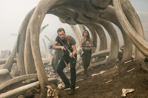 Going ape: Tom Hiddlestone and Brie Larson deal with a large gorilla in the mist