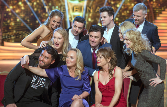 Relaxed: The contestants of 'Dancing with the Stars' taking a selfie during a day of rehearsals yesterday, ahead of the final Photo: Fergal Phillips
