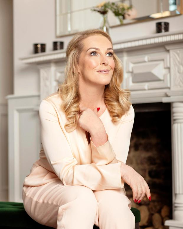 Katherine Lynch wears: Peach top, €239; trousers €239, both Hugo Boss at Brown Thomas. Photo: Naomi Gaffey