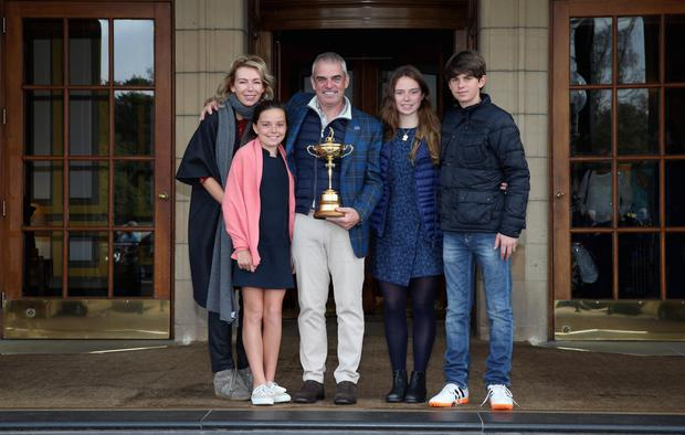Paul McGinley with wife Alison, daughters Maia and Niamh and son Killian at Gleneagles after leading Europe to Ryder Cup glory in 2014