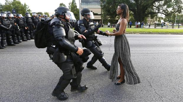 Actions speak louder: Iesha L Evans faces down armed state troopers in Baton Rouge