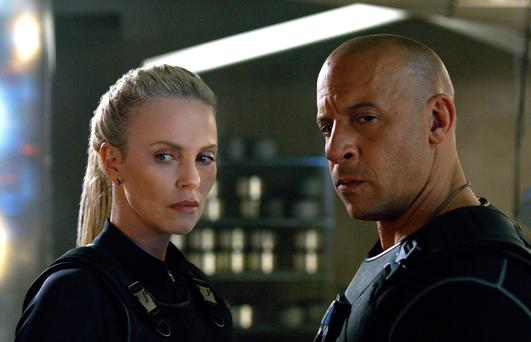 Subterfuge: Cipher (Charlize Theron) drives a wedge between Dom (Vin Diesel) and the rest of the gang in the latest Fast & Furious flick