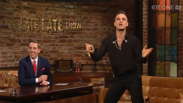 Robbie Williams with Ryan Tubridy on the 'Late Late'