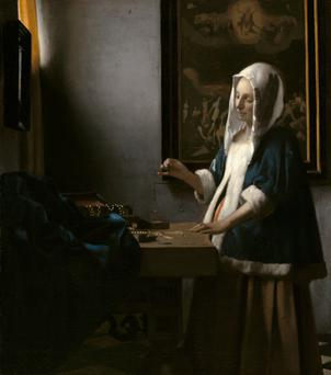 Woman with a Balance, c.1664. Johannes Vermeer (1632-1675). Widener Collection, courtesy National Gallery of Art, Washington