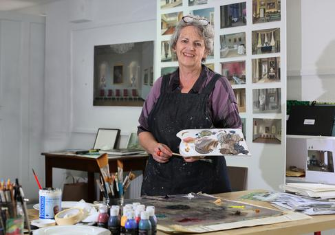 Juggling the studio with her baby: 'Timmy had put the paintbrushes in his mouth. I thought he'd swallowed turpentine,' recalls Eithne Jordan. Photo: Frank McGrath
