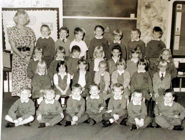 Primary 1 class at Dunblane Primary School, pictured with teacher Gwenne Mayor, who was killed with sixteen of the children as gunman Thomas Hamilton burst into the class, shooting indiscriminately.