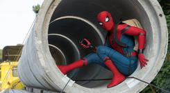 Caught in the web: Tom Holland in the titular role in Spider-Man Homecoming