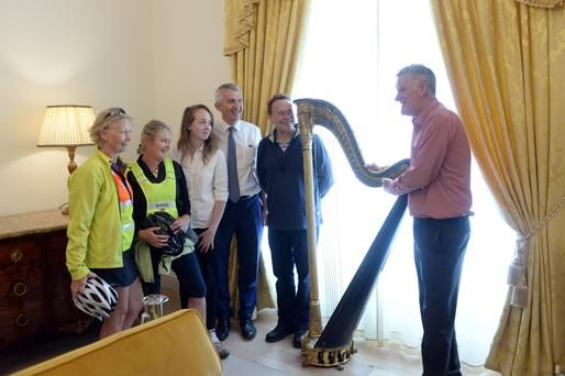 Harry O'Donoghue, who worked with the McShain family for many years on right with local Killarney people, Betty Garnett, Helen O'Donoghue, Jennifer and Denis Murphy and Ray Keane from Killarney at reopened Killarney House & Gardens.
