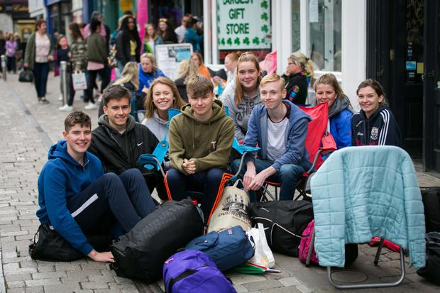 Fans queuing for tickets outside OMG Zhivago records on Shop St in Galway this week. Photo: Andy Newman