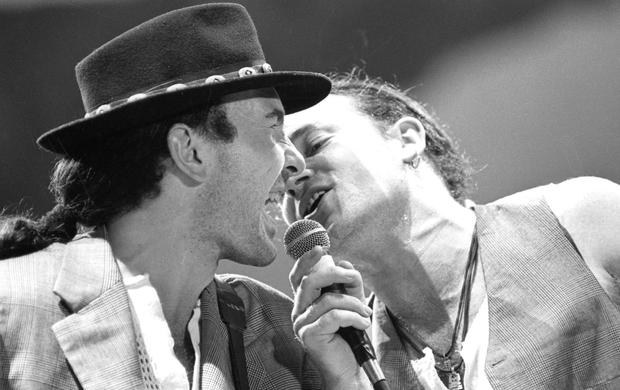 The Edge and Bono rock out at the band's famous 1987 Joshua Tree tour concerts at Croke Park. NPA/Irish INdependent Archives