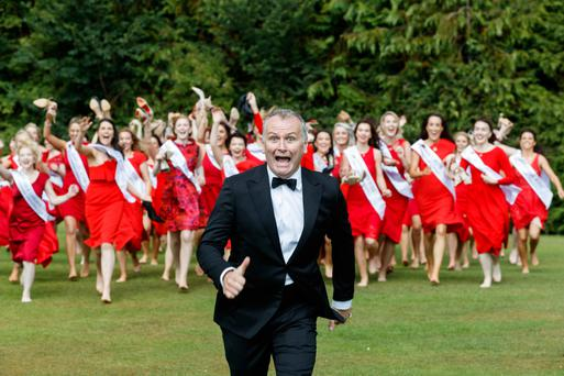 Run Dáithí, run: Ó Sé at the Rose of Tralee launch where he met all 64 hopefuls for the first time. The festival will broadcast on Monday and Tuesday. Photo: Andres Poveda