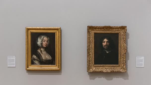 Installation of William Dobson's Portrait of The Artist's Wife and Self-portrait