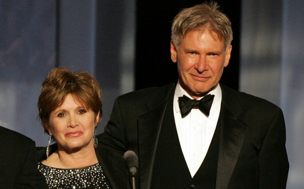 Harrison Ford with Carrie Fisher. Photo: Getty Images