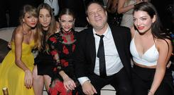Power trip: Harvey Weinstein with (l-r) Taylor Swift, Este Haim, Jaime King and Lorde. Photo: Getty Images for TWC