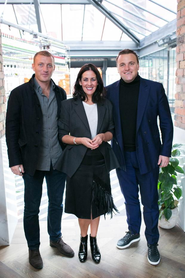 Brett Desmond, Shelley Corkery and Damien O ' Donohoe pictured at the official launch of Marram, the new luxury men's grooming brand which is now available in The Marvel Room at Brown Thomas & online at www.marramco.com . Photo: Richie Stokes