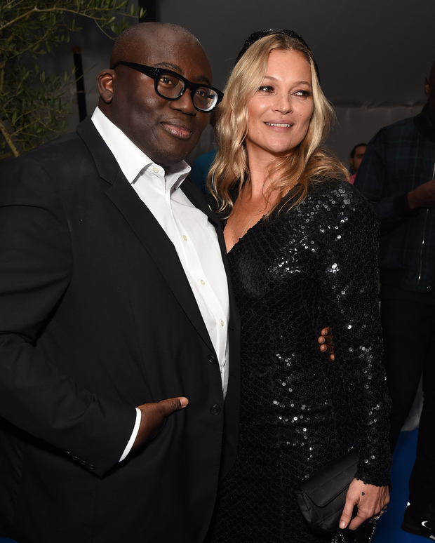 Strike a pose: Edward Enninful with Kate Moss at a party this week to celebrate the launch of the December issue Vogue. Photo: Dave Benett/Getty Images