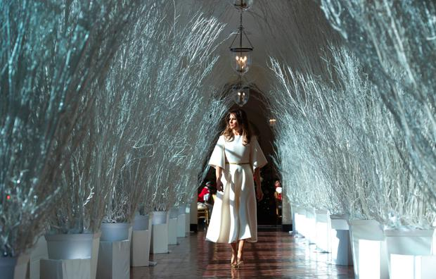 Melania walks among the White House Christmas decorations. Photo: AFP/Getty Images