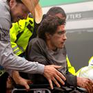 Tragic: Jake Gyllenhaal after the bombing scene in Stronger. Photo: Roadside Attractions Press Site