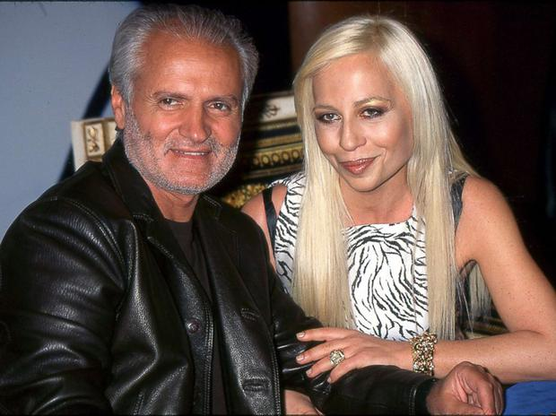 Gianni and Donatella Versace at a show in the 1990s