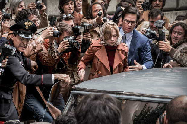 Slick thriller: Mark Walhberg as JP Getty's security advisor and Michelle Williams as kidnapped John Paul Getty III's mother Abigail